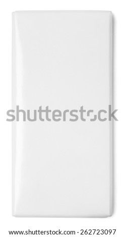 Top view of blank chocolate Bar Package isolated on white