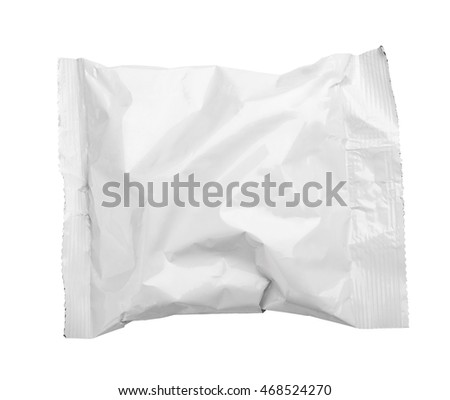 Top view of blank crumpled plastic pouch food packaging isolated on white with clipping path