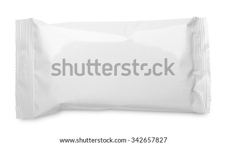Top view of blank plastic pouch food packaging isolated on white background
