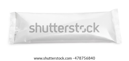 Top view of blank plastic pouch snack packaging isolated on white background with clipping path