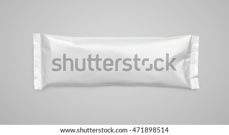 Top view of blank plastic pouch snack packaging on gray background with clipping path