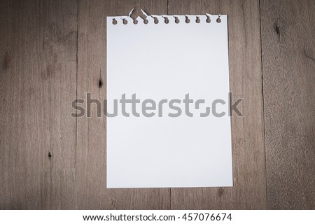 Top view of blank white paper page put on old wooden for background menu. with copy space for write text. - stock photo