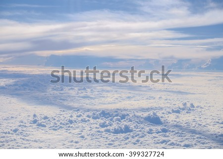 Top view of Blue sky and white cloud. Cumulus cloud. Cloudscape. - stock photo