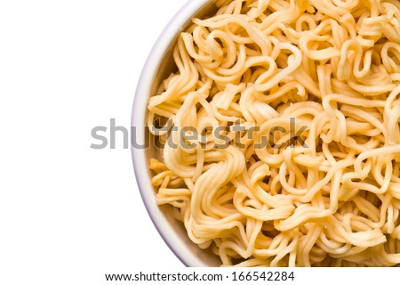 top view of boiled chinese noodles on white background