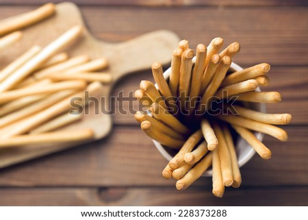 top view of breadsticks grissini - stock photo