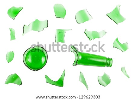 Top view of broken green bottle isolated on white background