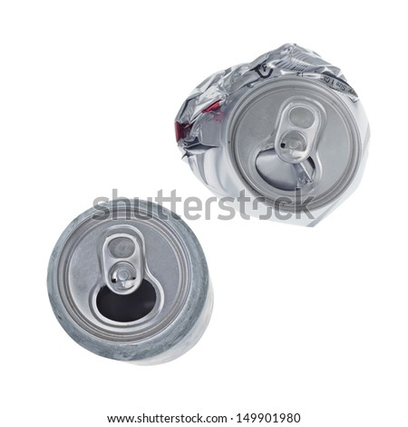 Top view of broken soda can isolated on white background