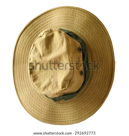 Top view of Brown cloth hat isolated on white background