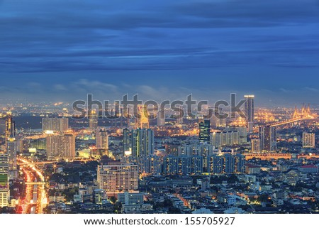 top view of buiding city scape in Bangkok, Thailand