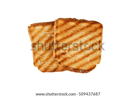 Top view of burnt toasted bread, isolated on white background.
