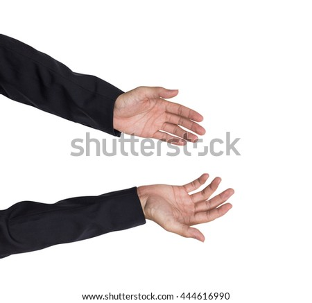 Top view of business man hand meeting suggestion, isolated on white background photography.