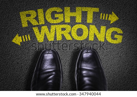 Top View of Business Shoes on the floor with the text: Right - Wrong - stock photo