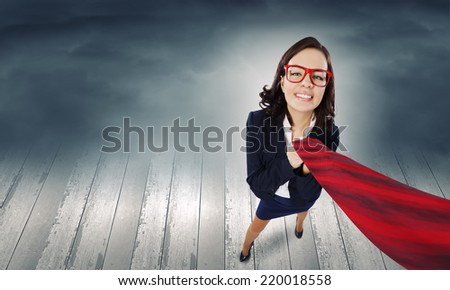 Top view of businesswoman pulling tie of boss - stock photo