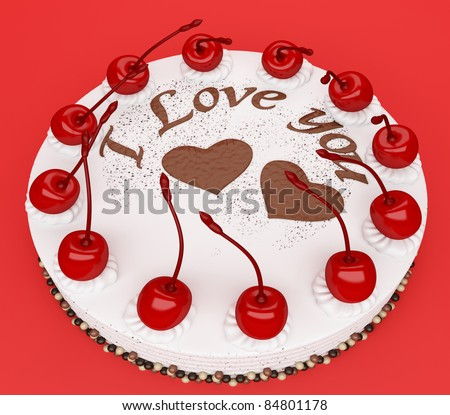 Top view of cake with cherries over red background