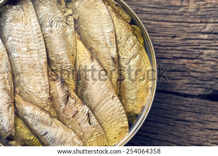 top view of can of sprats - stock photo