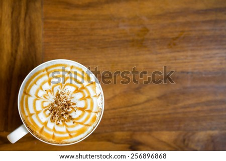 Top view of cappuccino coffee  - stock photo