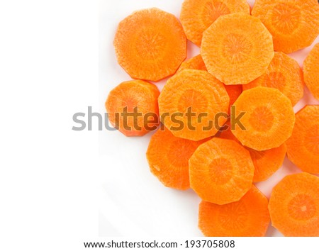 Top view of carrot - orange vegetable on white background - stock photo