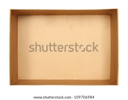 Top view of carton box isolated on white background - stock photo