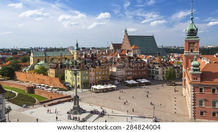 Top view of Castle Square in Warsaw, Poland. - stock photo