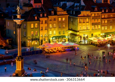 Top view of castle square with sigismunds column at old town in Warsaw in the night - stock photo