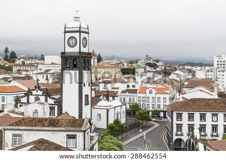 Top view of center Ponta Delgada (San Miguel Island) Azores, Portugal. - stock photo