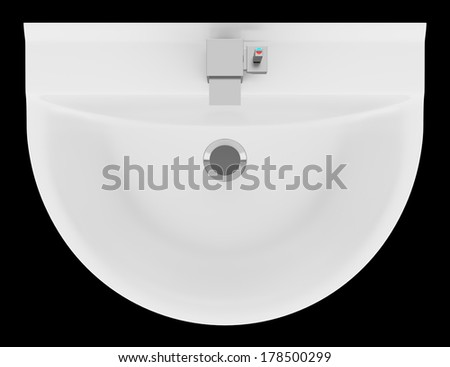Top View Of Ceramic Bathroom Sink Isolated On Black Background