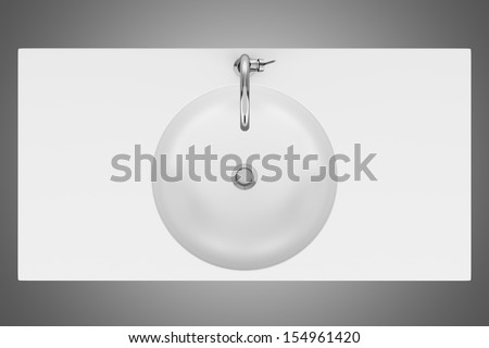 top view of ceramic bathroom sink isolated on gray background - stock photo