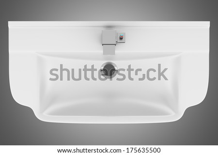 Top View Of Ceramic Bathroom Sink Isolated On Gray Background