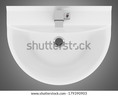top view of ceramic bathroom sink isolated on gray background. Top View Ceramic Bathroom Sink Isolated Stock Illustration