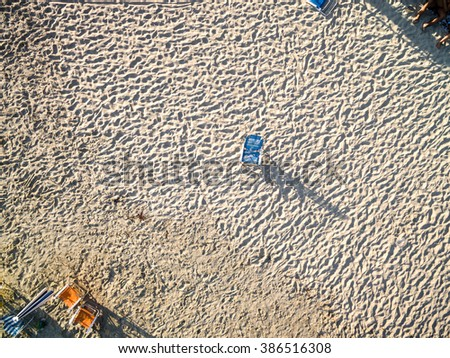 Top View of Chair in the Beach - stock photo