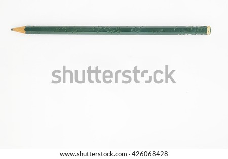 Top view of chewed green pencil