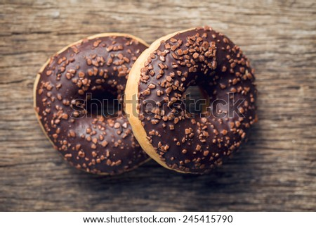 top view of chocolate donuts - stock photo