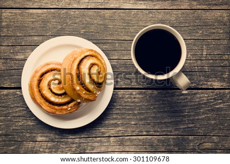 top view of cinnamon buns and coffee - stock photo