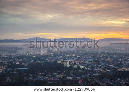 Top view of city, sunrise