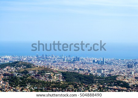 Top view of cityscape of Barcelona, Spain.