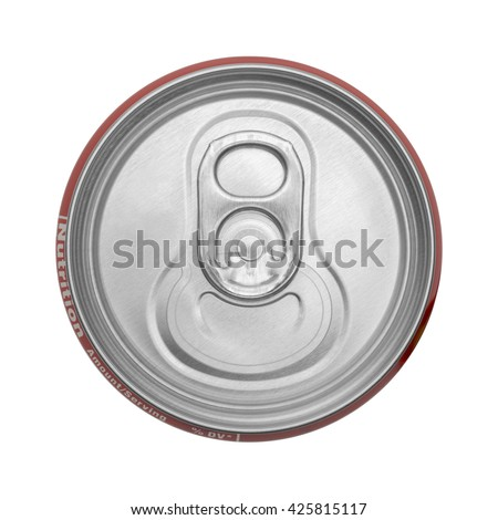 Top View Of Closed Soda Can Isolated on White Background.