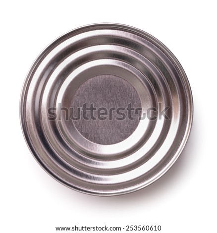 Top view of closed tin can isolated on white - stock photo