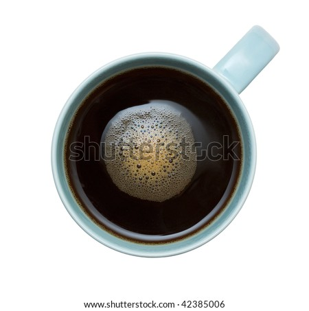 Top view of coffee cup. Isolated over white.