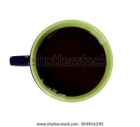 top view of coffee cup on white background - stock photo