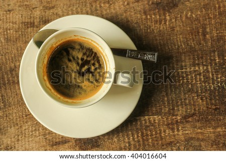 Top view of coffee on wooden table - Espresso coffee - stock photo