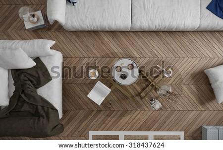 Top view of coffee table in the living room - 3 d render using 3 d s Max - stock photo