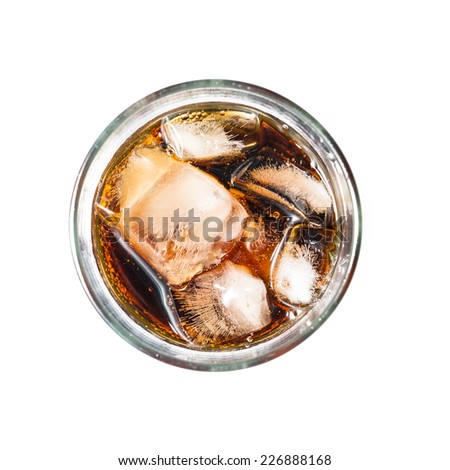 Top view of cola with ice on white background.