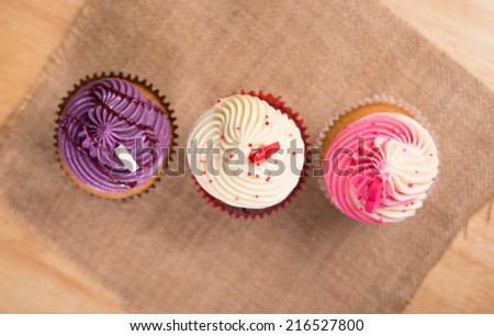 Top view of Colorful Cup Cake - stock photo