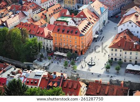 Top view of colorful Ljubljana Old Town. Slovenia - stock photo