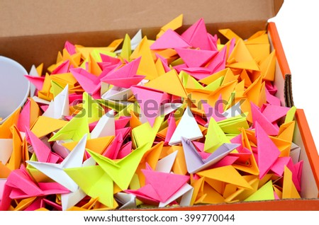 top view of colorful shape papers closeup, in box - stock photo
