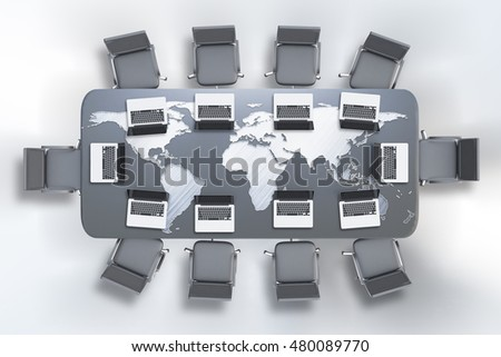 Top view of conference table with map and laptops on white background. 3D Rendering. Global business concept