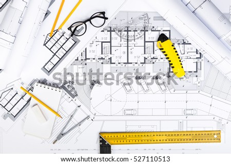 Top View Of Construction Plans With Drawing And Working Tools On Blueprints Architectural Engineering
