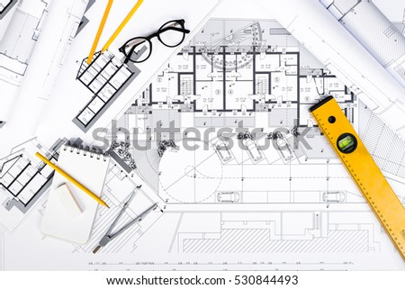 Construction plans stock images royalty free images for Plan construction
