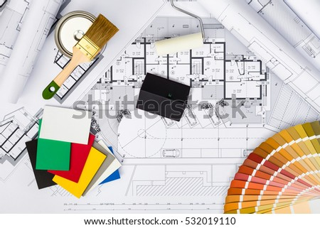 Top View Construction Plans Whitewashing Toolscolors Stock Photo 530267617 Shutterstock
