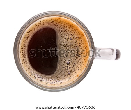 Top view of cup of black coffee. Isolation.